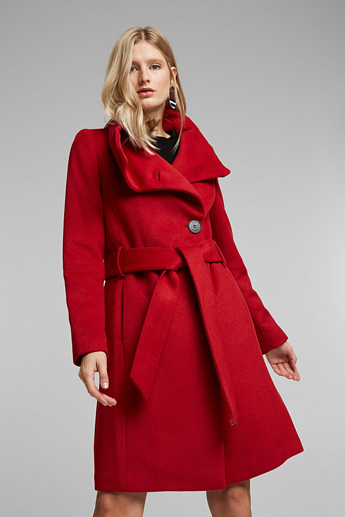 With wool: fitted coat with a belt, DARK RED, detail image number 0