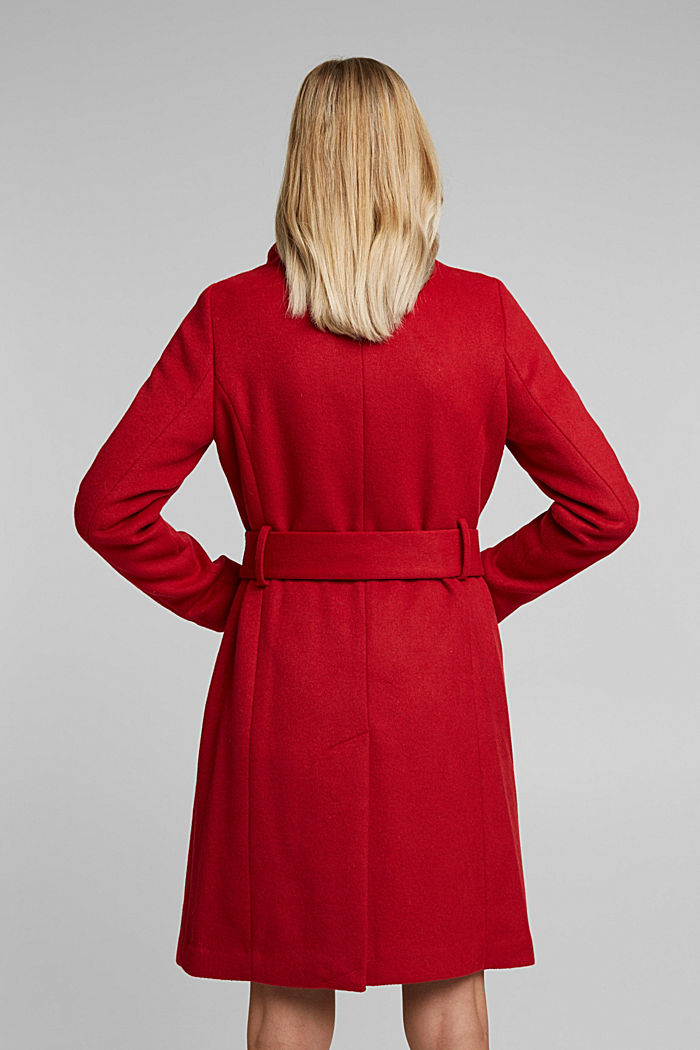 With wool: fitted coat with a belt, DARK RED, detail image number 3