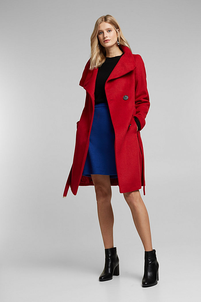 With wool: fitted coat with a belt, DARK RED, detail image number 1