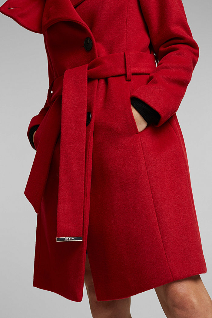 With wool: fitted coat with a belt, DARK RED, detail image number 2