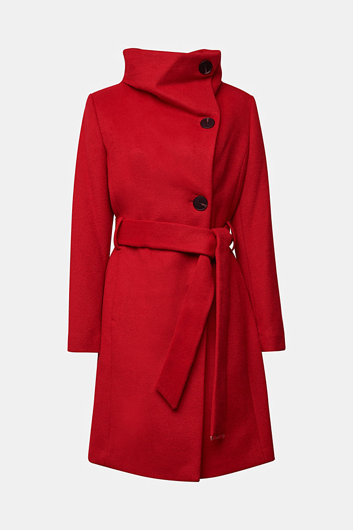 With wool: fitted coat with a belt, DARK RED, detail image number 6