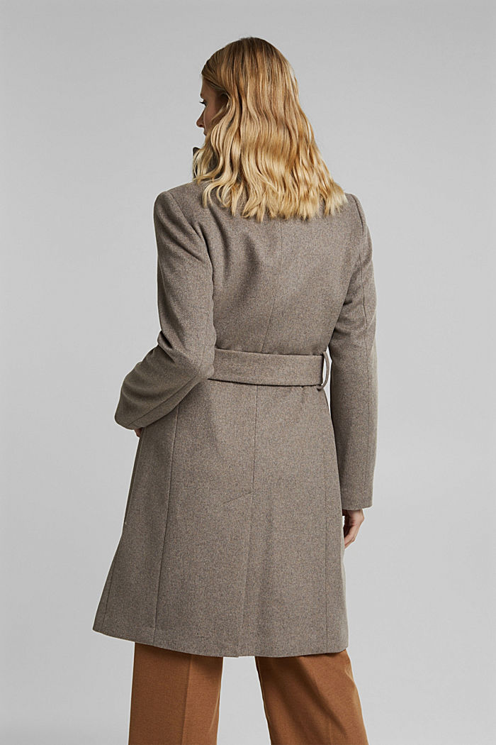 Wool blend: coat with tie-around belt, TAUPE, detail image number 3