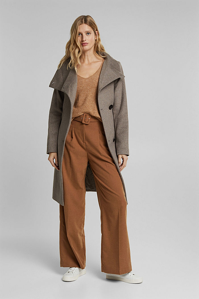 Wool blend: coat with tie-around belt, TAUPE, detail image number 1