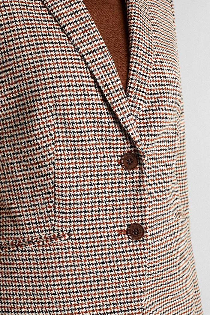 Recycled fitted houndstooth blazer, TOFFEE, detail image number 2