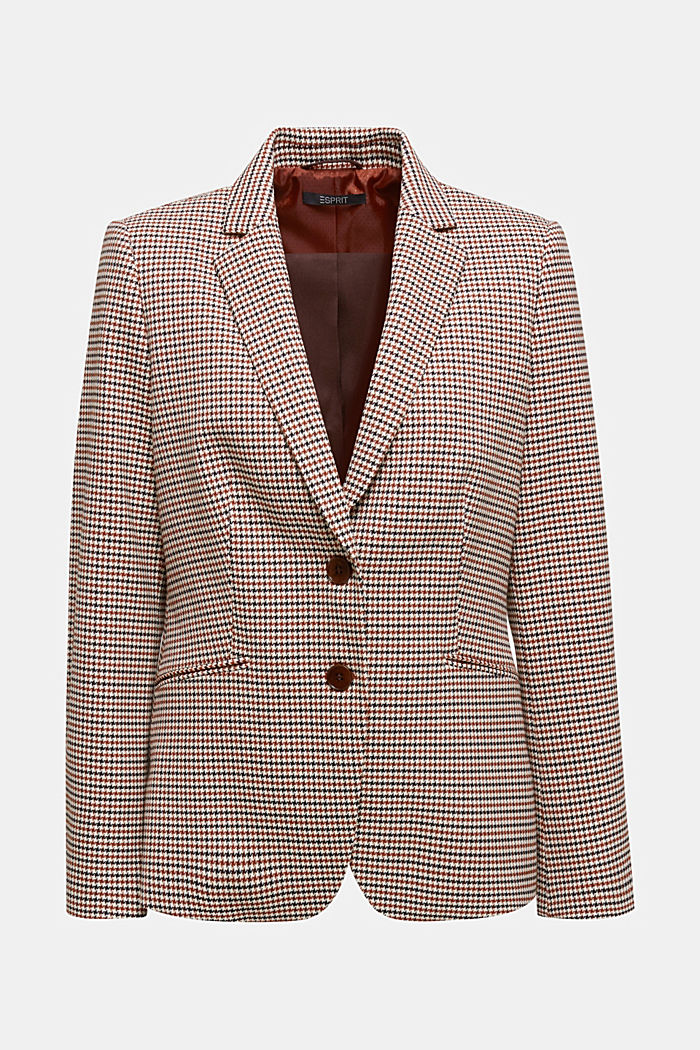 Recycled fitted houndstooth blazer, TOFFEE, detail image number 5