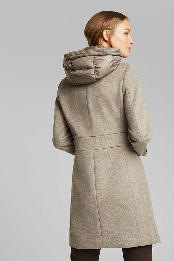Wool blend: Coat with a hood, LIGHT TAUPE, detail image number 3