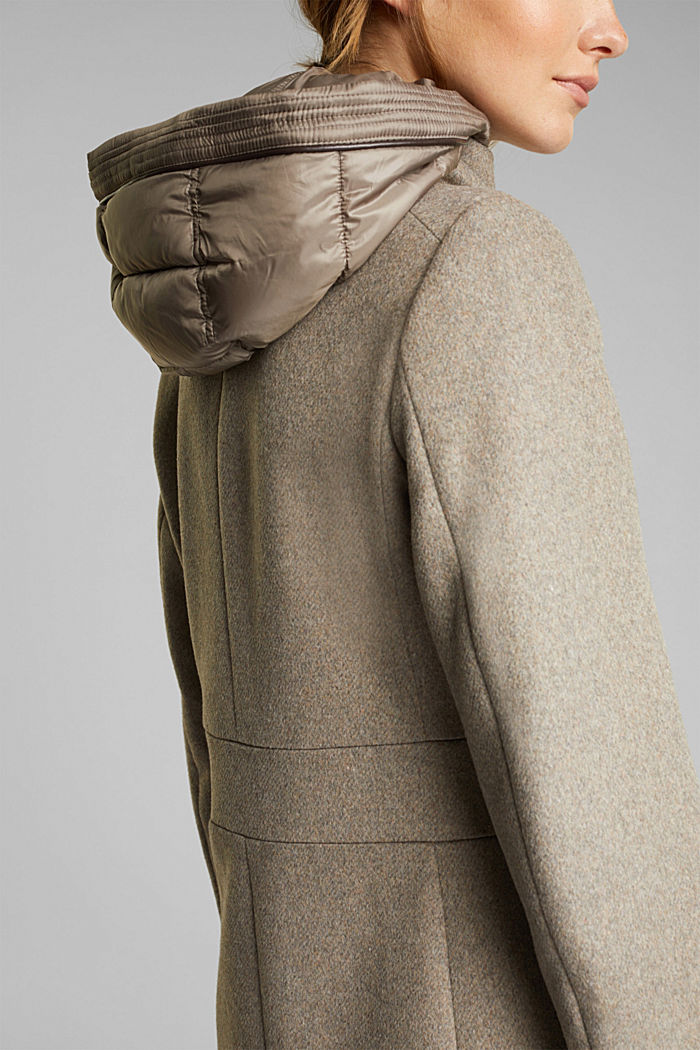 Wool blend: Coat with a hood, LIGHT TAUPE, detail image number 2