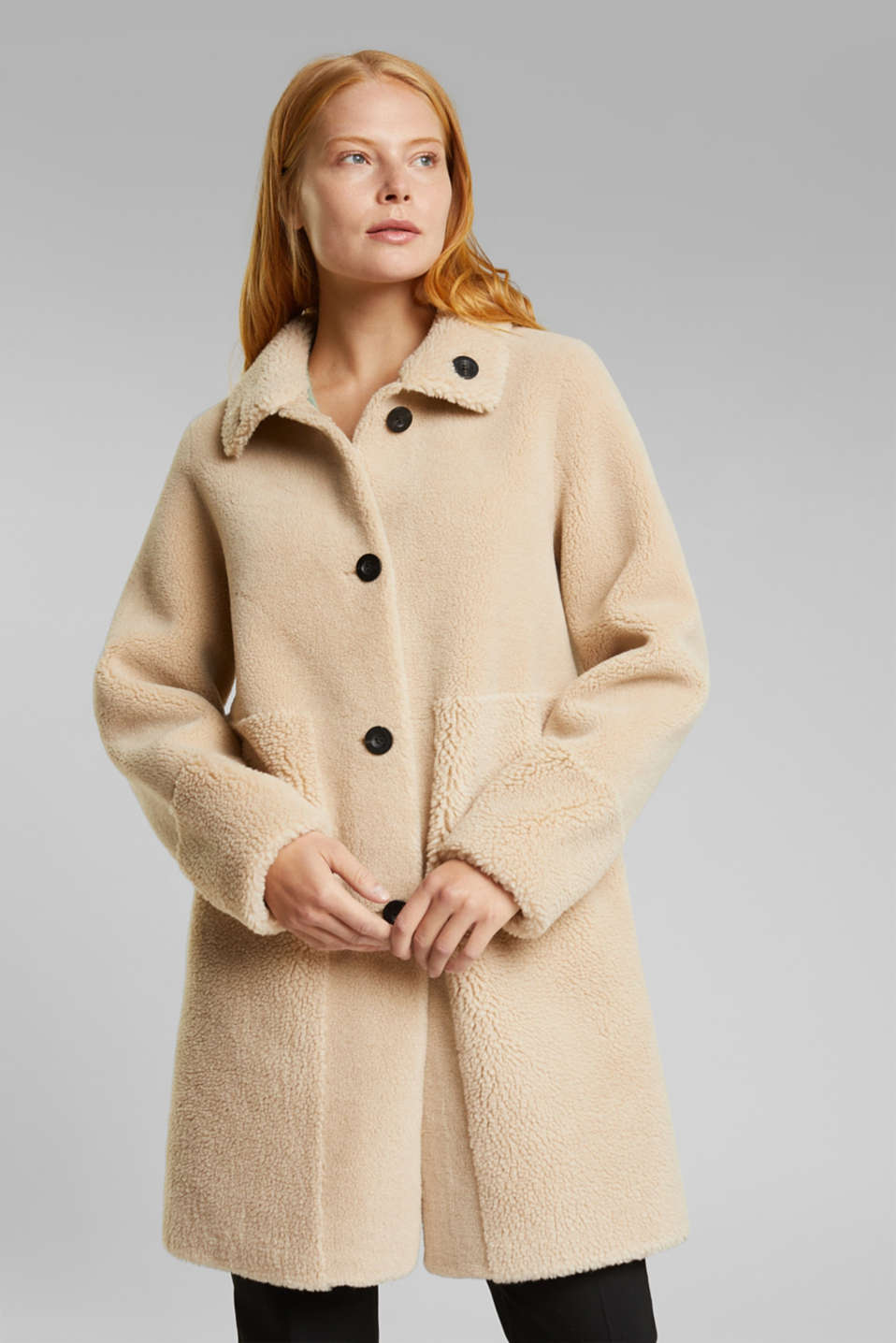 Esprit - Mantel in Shearling-Optik