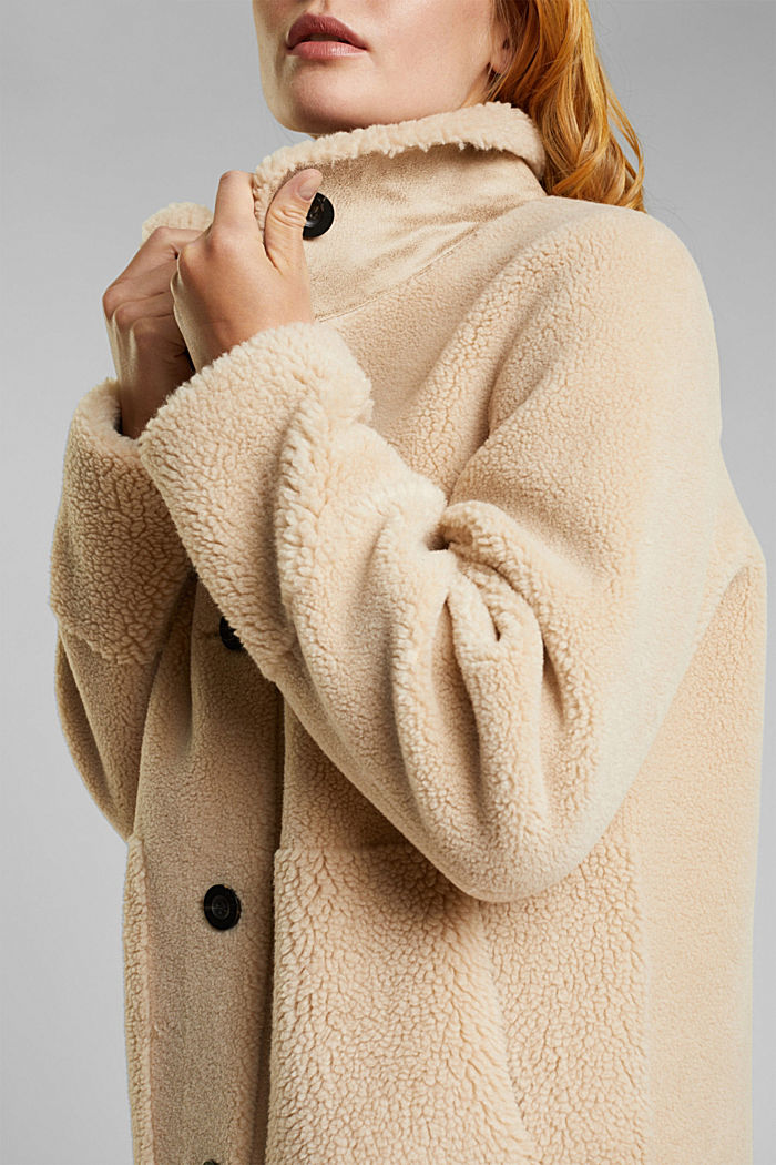 Faux shearling coat, SAND, detail image number 2
