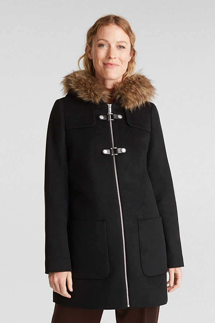Padded coat with faux fur and wool, BLACK, detail image number 0