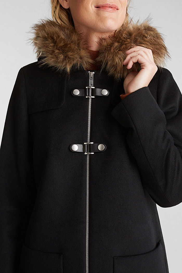 Padded coat with faux fur and wool, BLACK, detail image number 2