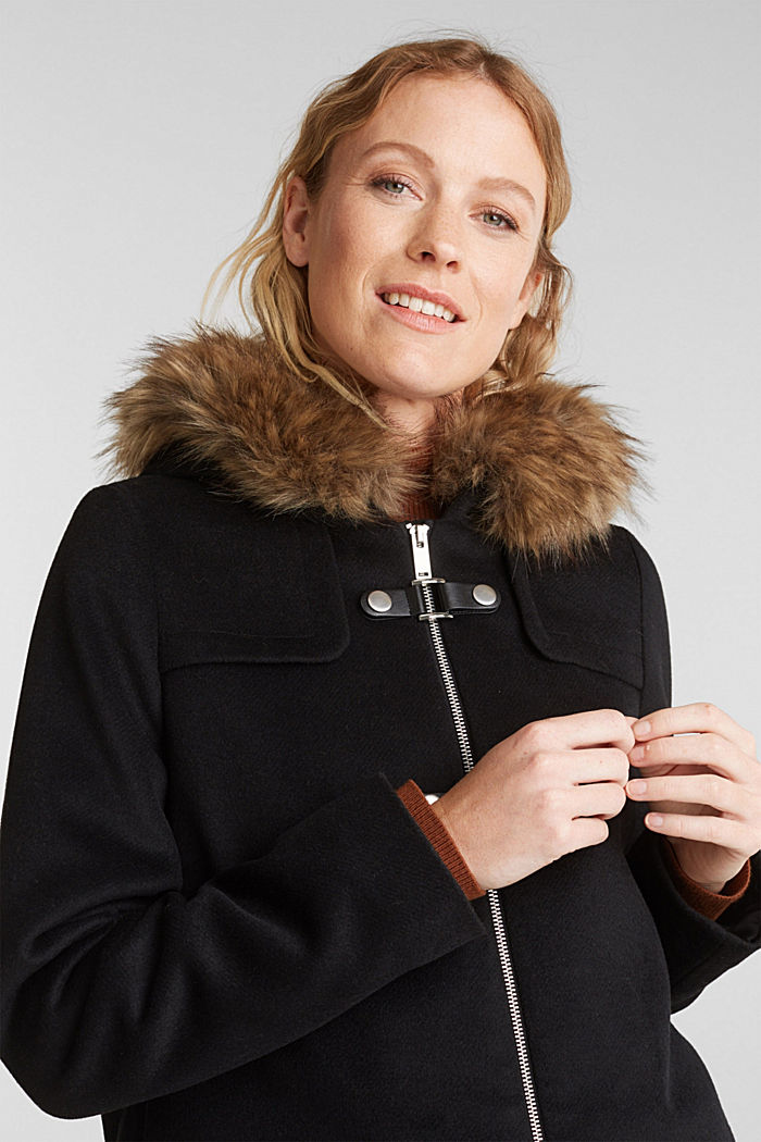 Padded coat with faux fur and wool, BLACK, detail image number 6