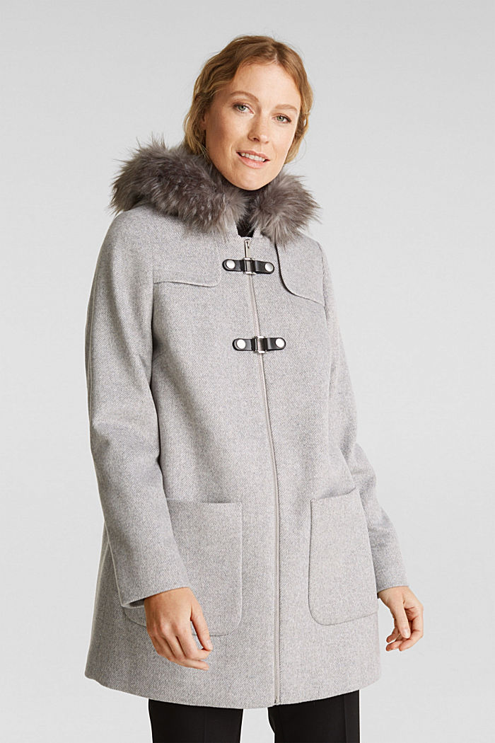 Padded coat with faux fur and wool, LIGHT GREY, detail image number 0