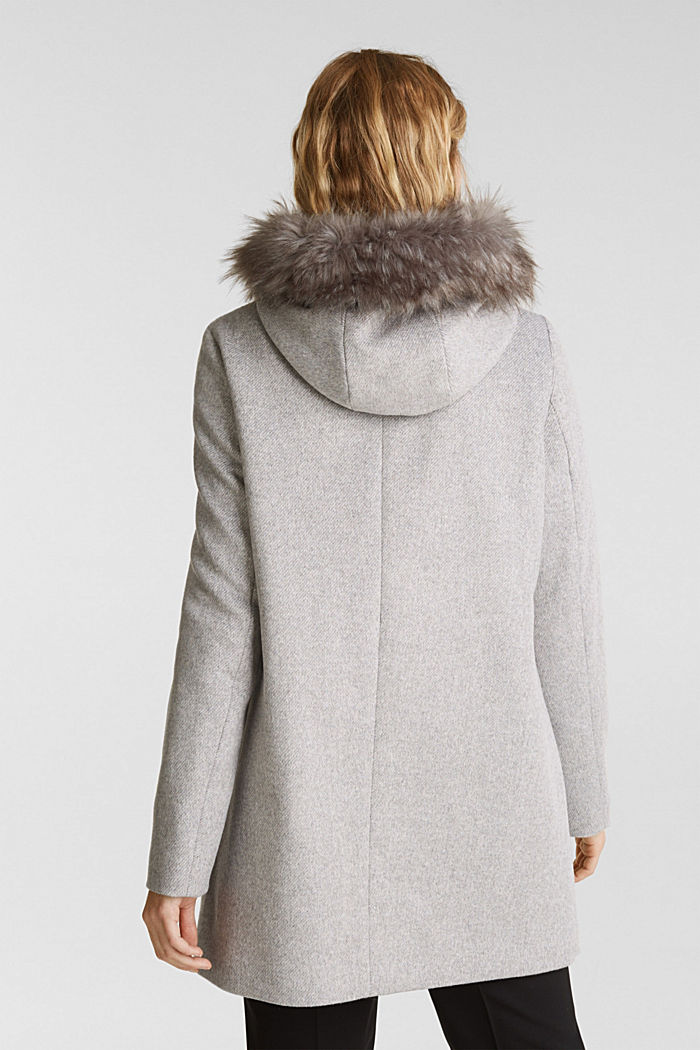 Padded coat with faux fur and wool, LIGHT GREY, detail image number 3