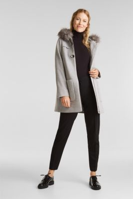 Padded coat with faux fur and wool, LIGHT GREY 5, detail