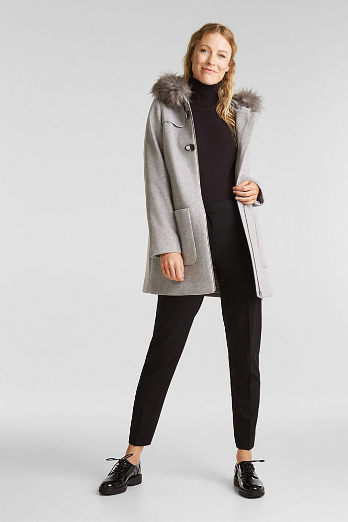 Padded coat with faux fur and wool, LIGHT GREY, detail image number 1