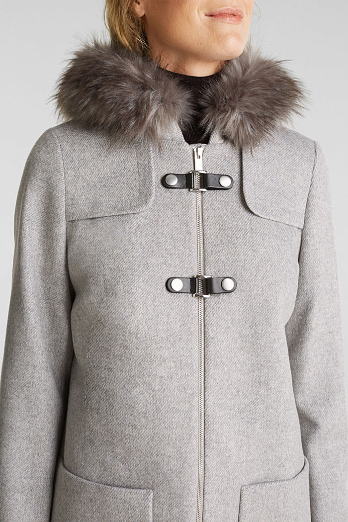 Padded coat with faux fur and wool, LIGHT GREY, detail image number 2