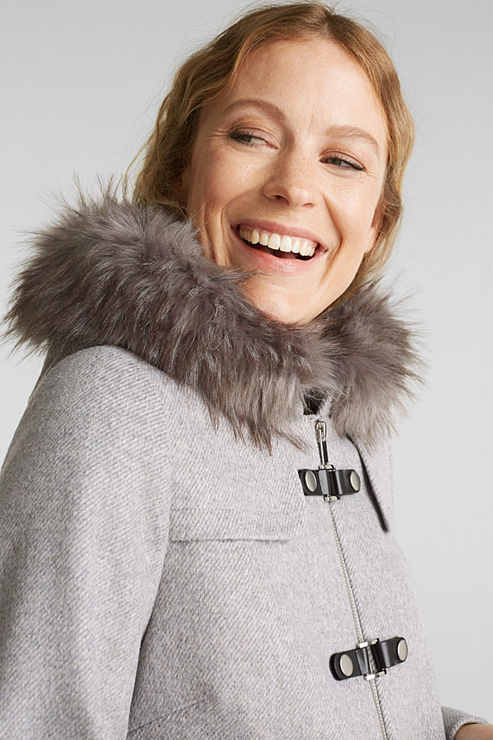 Padded coat with faux fur and wool, LIGHT GREY, detail image number 6