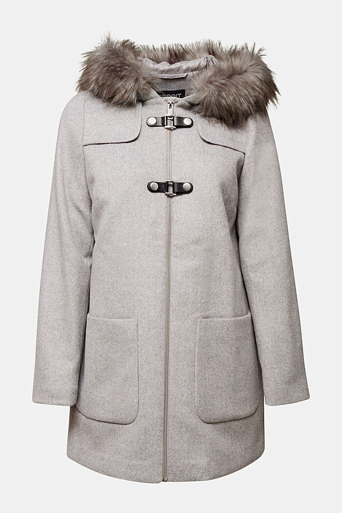 Padded coat with faux fur and wool, LIGHT GREY, detail image number 7