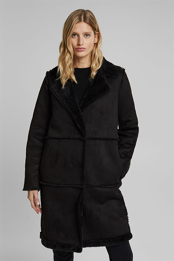 Faux sheepskin coat, BLACK, detail image number 0