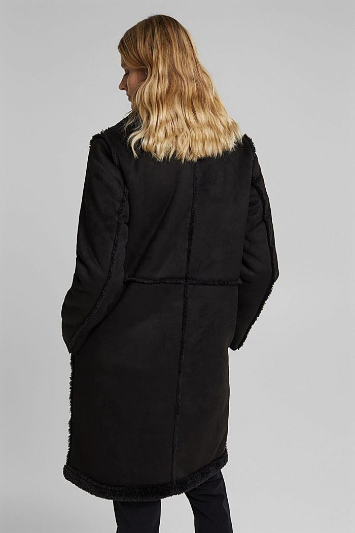 Faux sheepskin coat, BLACK, detail image number 3