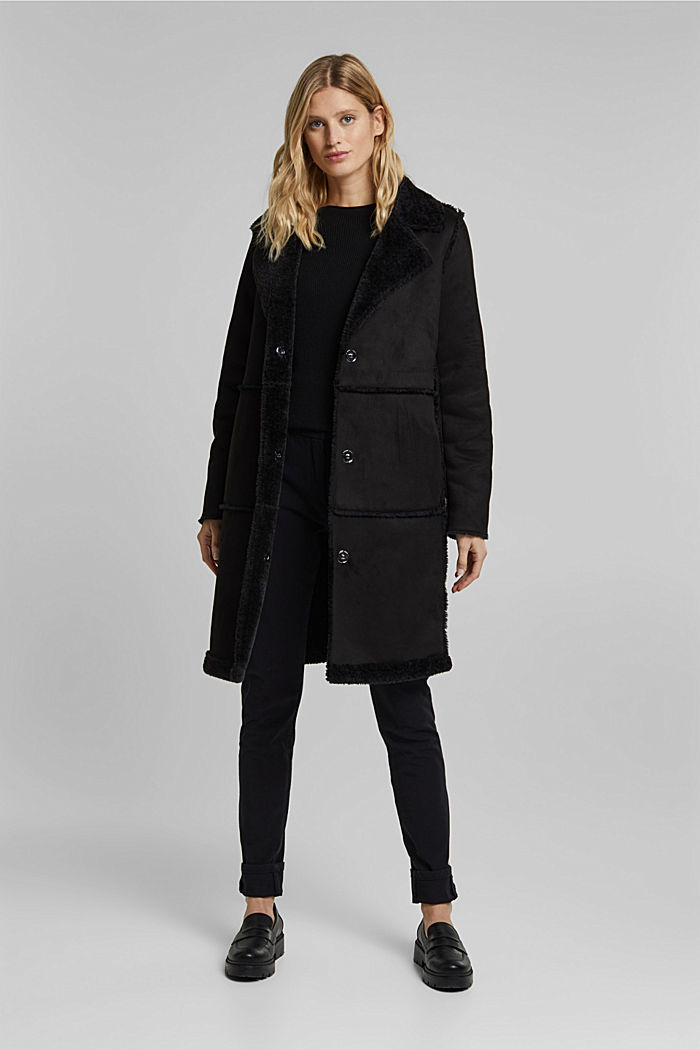 Faux sheepskin coat, BLACK, detail image number 1