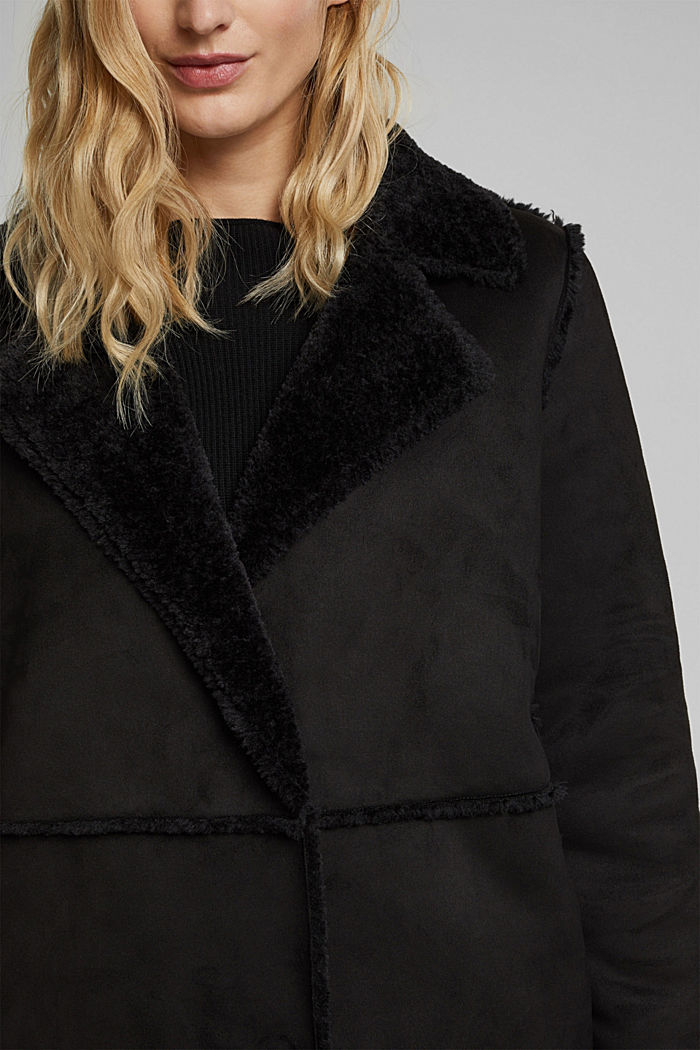 Faux sheepskin coat, BLACK, detail image number 2