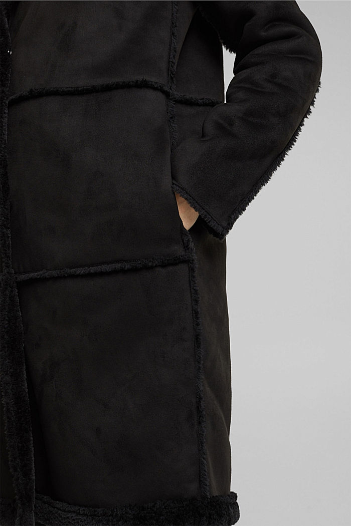 Faux sheepskin coat, BLACK, detail image number 4