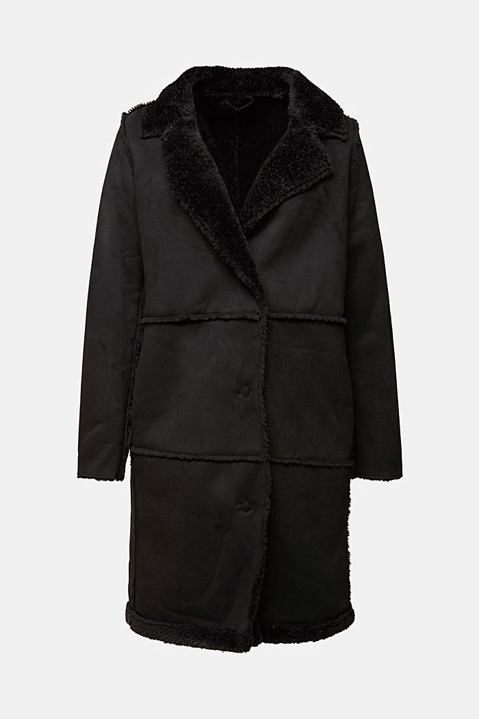Faux sheepskin coat, BLACK, detail image number 6