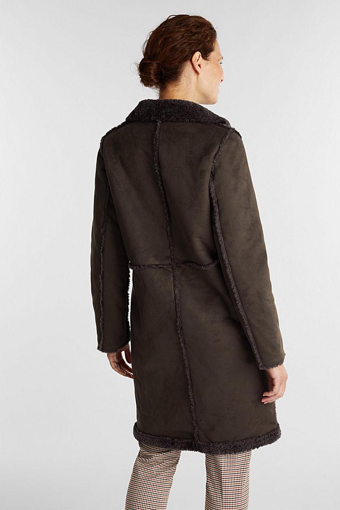 Faux sheepskin coat, DARK BROWN, detail image number 3