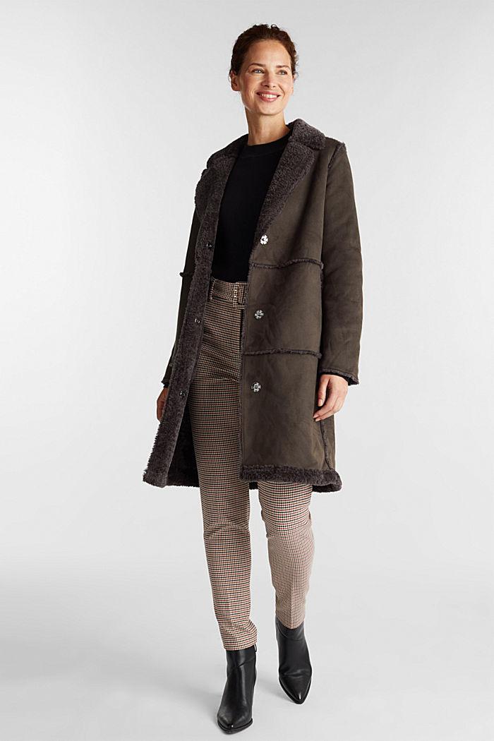 Faux sheepskin coat, DARK BROWN, detail image number 1