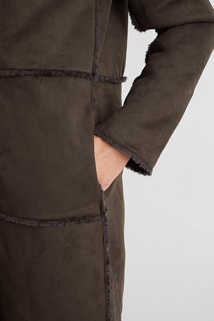 Faux sheepskin coat, DARK BROWN, detail image number 2