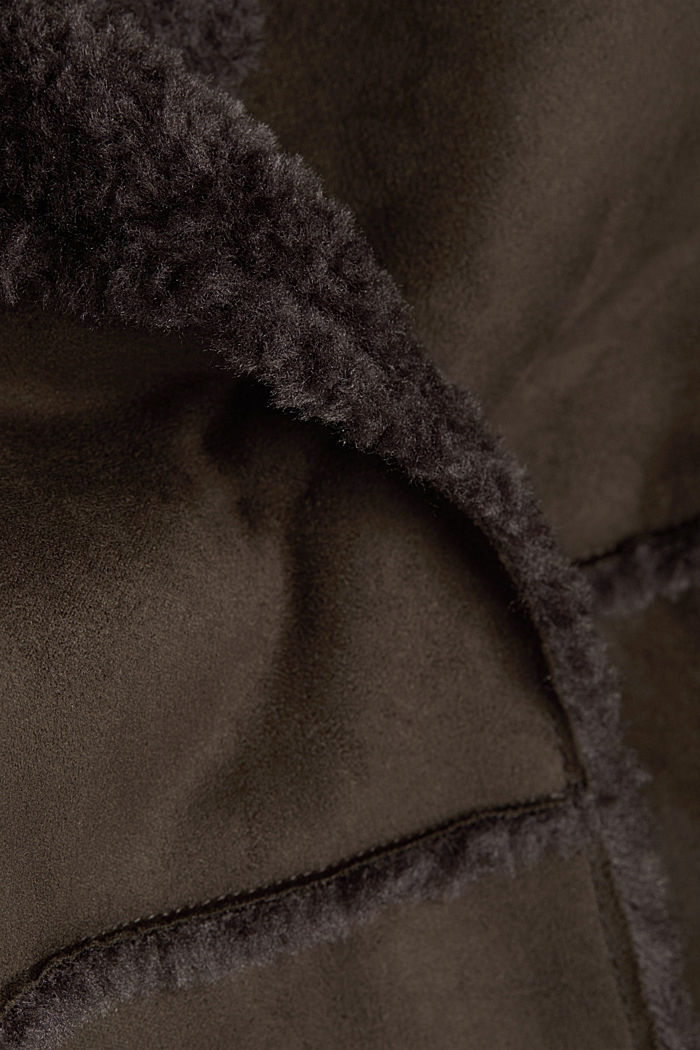 Faux sheepskin coat, DARK BROWN, detail image number 4