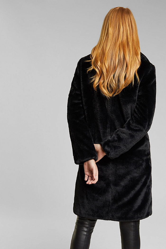 Abrigo de pelo sintético con cuello de solapas, BLACK, detail image number 3