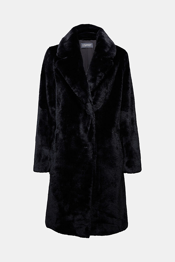 Faux fur coat with a lapel collar