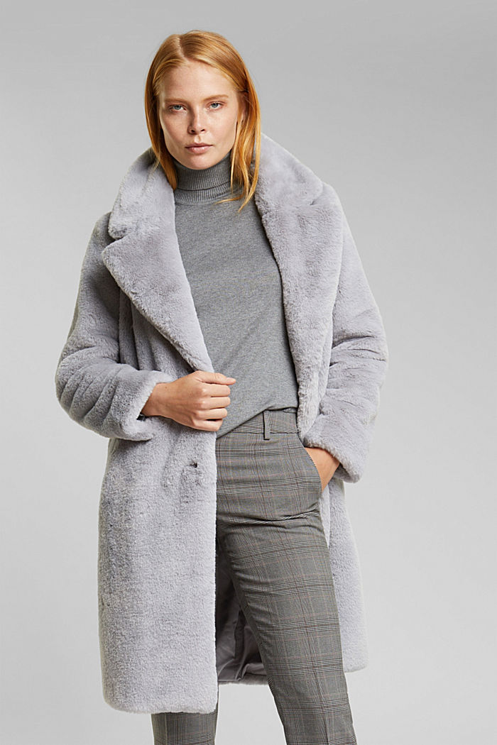 Faux fur coat with a lapel collar, LIGHT GREY, detail image number 0