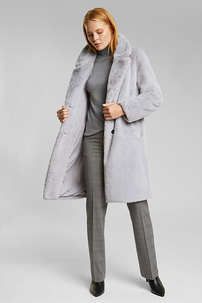 Faux fur coat with a lapel collar, LIGHT GREY, detail image number 1
