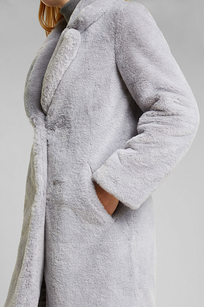 Faux fur coat with a lapel collar, LIGHT GREY, detail image number 2