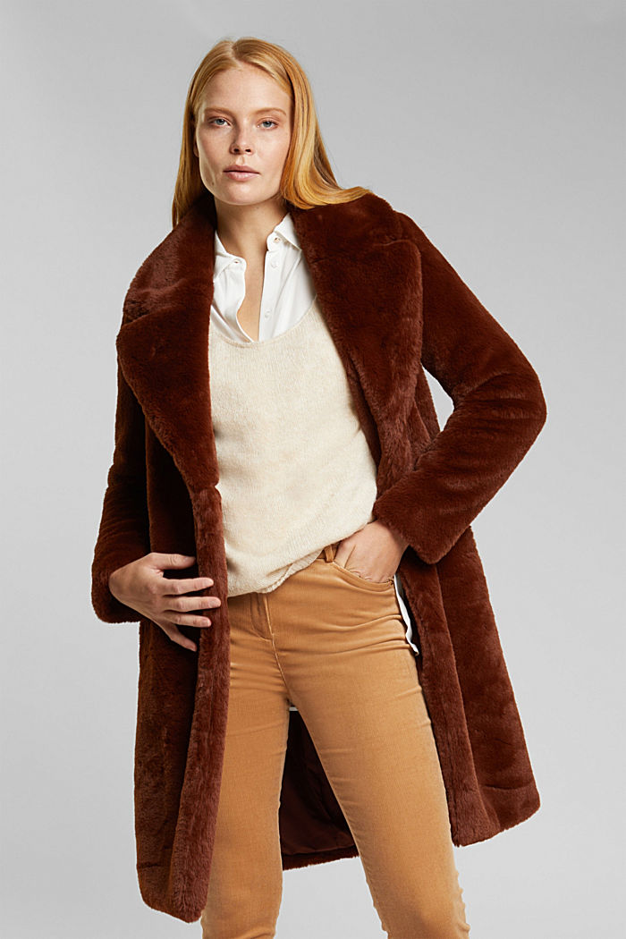 Faux fur coat with a lapel collar, RUST BROWN, detail image number 0