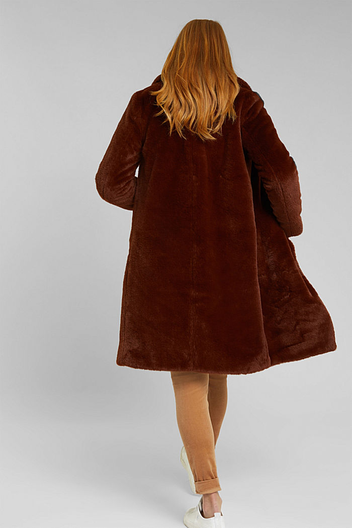 Faux fur coat with a lapel collar, RUST BROWN, detail image number 3