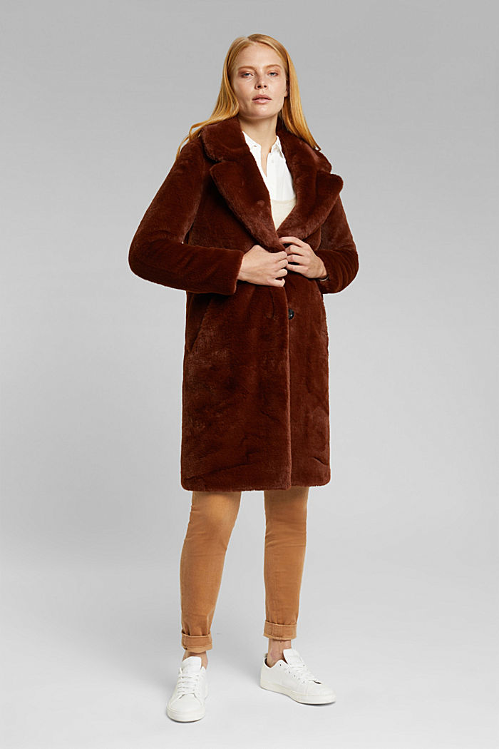 Faux fur coat with a lapel collar, RUST BROWN, detail image number 1