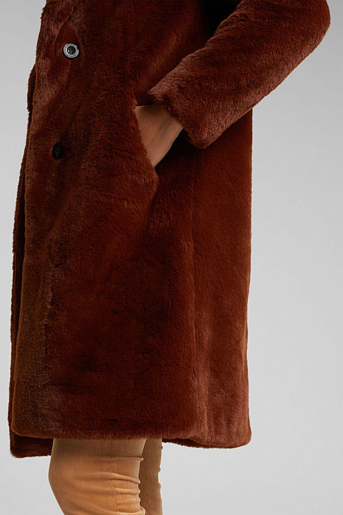 Faux fur coat with a lapel collar, RUST BROWN, detail image number 2