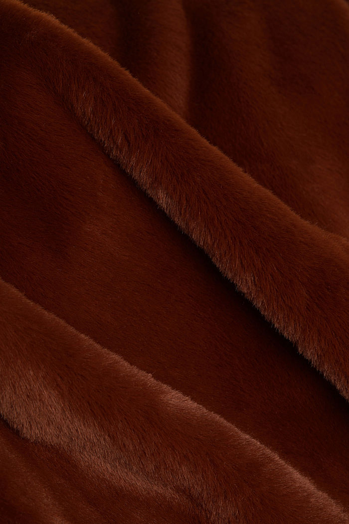 Faux fur coat with a lapel collar, RUST BROWN, detail image number 4