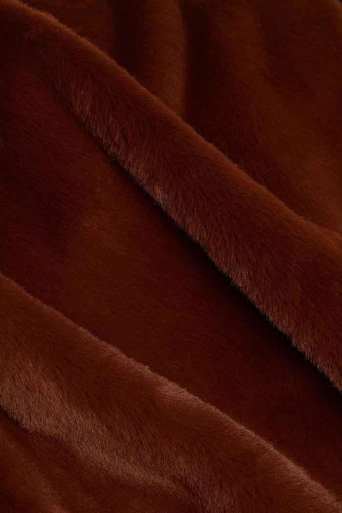 Abrigo de pelo sintético con cuello de solapas, RUST BROWN, detail image number 4