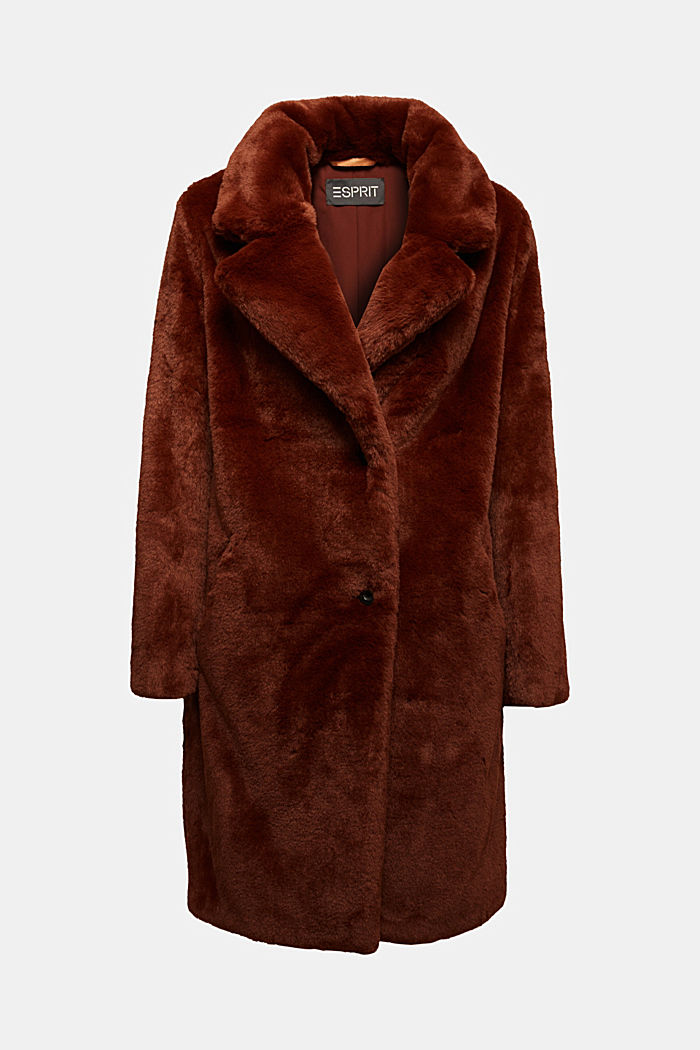 Faux fur coat with a lapel collar, RUST BROWN, detail image number 5