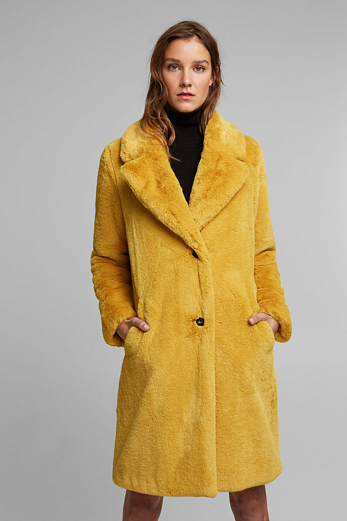 Faux fur coat with a lapel collar, DUSTY YELLOW, detail image number 0