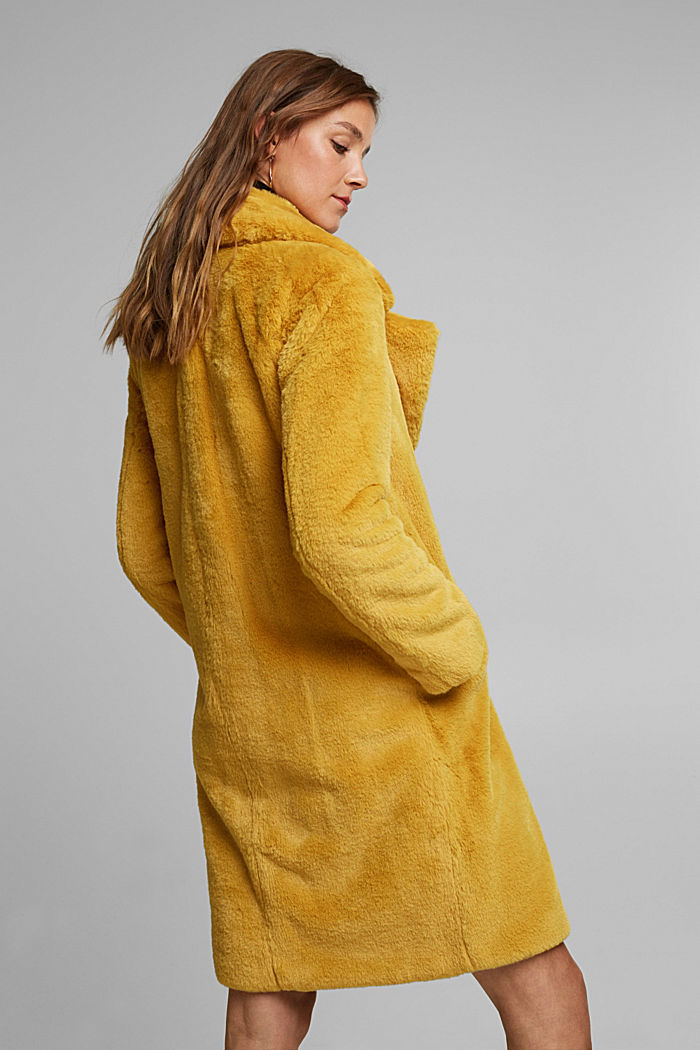 Faux fur coat with a lapel collar, DUSTY YELLOW, detail image number 3