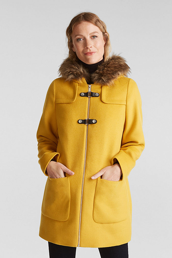 Padded coat with faux fur and wool, AMBER YELLOW, detail image number 0