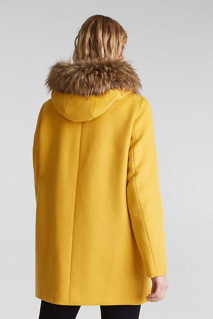 Padded coat with faux fur and wool, AMBER YELLOW, detail image number 3