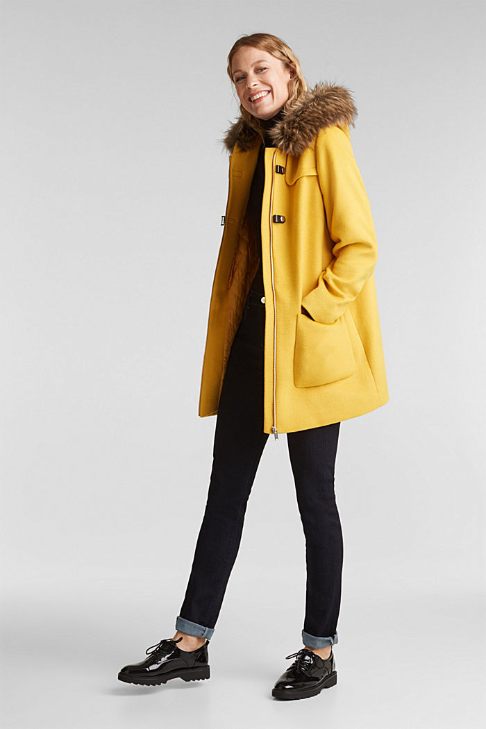 Padded coat with faux fur and wool, AMBER YELLOW, detail image number 1
